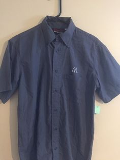 Small Gray Employee McDonald's Apparel Collection Shirt Fast Food Free Shipping #McDonaldsApparelCollection #ButtonFront