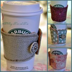 Easy to make DIY Coffee Cozy...pick your fabric! I used a toile, a burlap and some other fun patterned fabrics! Great for party favors at your fall party!
