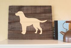 Yellow Lab Silhouette Reclaimed Wood Sign Art by elhdesign77