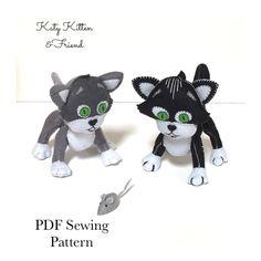 Kitten Sewing Pattern -  Felt Kitten , Plushie Kitten, Toy Kitten, Downloadable Pattern, sewing tutorial, Kitten, kidsroom decor Pdf Sewing Patterns, Sewing Tutorials, Pattern Design, My Design, Monkey Pattern, Kitten Toys, Dragon Pattern, Felt Animals, Digital Pattern