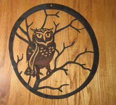 Owl in Tree Metal Art by steelmyart on Etsy
