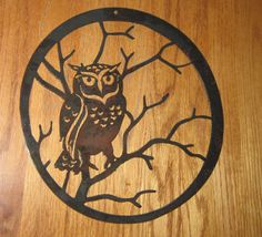 Owl sitting in a tree   Metal art by steelmyart on Etsy, $20.00