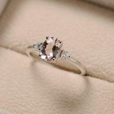 Morganit ring Oval Morganit Ring Silber rosa Edelstein-Ring