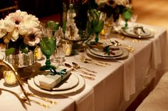 What a GORGEOUS color palette: cream, gold and green.  Courtesy of Ruffled and Dallas Curow Photography