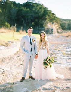 Romantic Outdoor Rustic Wedding. Bride and groom. Lace tulle wedding gown.
