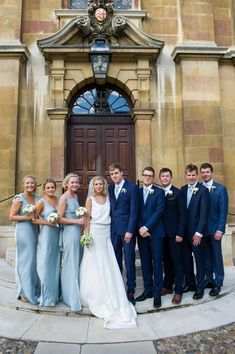 Wedding Suits - An Elegant Wedding At Clare College Chapel In Cambridge With Bride In Delphine Manivet Gown And Groom In Navy Three Piece Suit From Jaeger With Bridesmaids In Blue Dresses By Ghost And Images From Especially Amy Light Blue Bridesmaid Dresses, Dusty Blue Bridesmaid Dresses, Dusty Blue Weddings, Blue Dresses, Ghost Bridesmaid Dress, Ghost Dresses, Boho Bridesmaids, Blue Wedding Suit Groom, Navy Blue Groomsmen