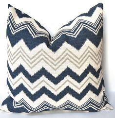 Decorative Pillows Aquamarine Chevron Accent Pillow Covers 22 x 22 Inches- Designer Zazzle Chevron in Navy Blue on Ivory. $48.00, via Etsy.