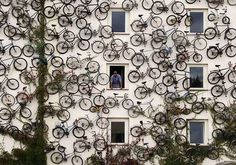 The co-owner of a bicycle shop in Altlandsberg, Germany, Peterson decided to forgo the traditional storefront sign — instead he mounted his entire inventory of 120 bikes for passers-by to see. An ingenious way to advertise his shop, save some space, and promote green transportation, this too cool idea is definitely more impressive than anything an overpaid ad exec could come up with!