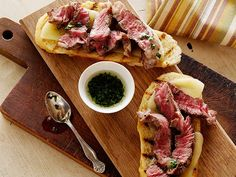 Wrap up grilling season with Bobby's open-faced steak and provolone sandwiches complete with crusty garlic bread and a parsley olive oil sauce.