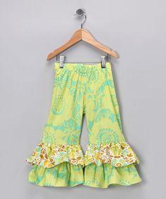 Yellow & Green Ruffle Pants - Infant, Toddler & Girls