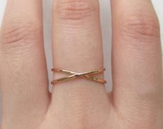 Gold X ring, 14k gold fill ring, criss cross ring, x ring, thin gold ring, cross ring, reversible ring, x ring, dainty ring, wire ring, gift