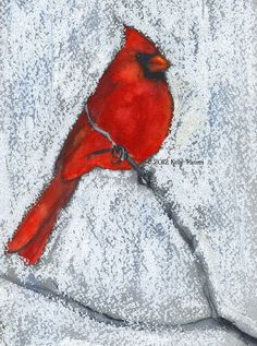Winter cardinals...This painting is a study in contrasts—the saturated red watercolor of the Northern Cardinal, which is very soft and blended, contrasts with the rough strokes of the white oil pastel. The contrast creates a very small black/grey halo around the bird to make the scene feel stylized and a touch painterly. It also emphasizes the red of the cardinal.