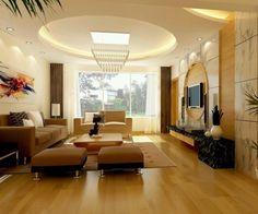 Luxury deckengestaltung im wohnzimmer mit led beleuchtung