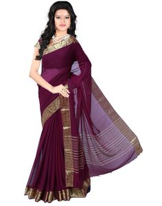 Roopkala Women Chiffon Plain Saree  Material: Art chiffon Silk Colour & Pattern : Wine & Plain, Gorgeous Saree For Evening & wedding wear Wash care:First was Dry clean and then normal wash. 5.40 Mtrs and 0.80 cms Blouse. There might be minor colour variation between actual product and image on screen.Due to photographic lighting sources or your monitor settings.