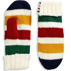 Hudson'S Bay Company The Stripes Mittens - -Striped ($15) ❤ liked on Polyvore featuring accessories, gloves, multi, fleece lined gloves, mitten gloves, fleece lined mittens and striped gloves
