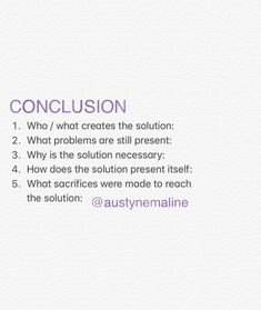 Conclusion / solution checklist Helps create a plot in writing (not as useful in cliffhanger endings)