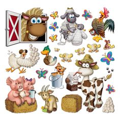 Farm Animal & Barn Cutout Assortment (40). This is a cute collection of 40 assorted Barnyard Farm Animal themed cutouts will set the scene for your Farm themed party. These are animals with attitude! Cows, chicks, pigs, goats ducks and more! This is a fun prop. Price is for 40 double sided Cutouts; assorted (sized approx 3cm to 27cm)