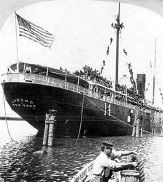 """Roosevelt's Rough Riders leaving Tampa aboard the transport """"Concho"""" headed for Santiago de Cuba. Old Florida, Vintage Florida, Tampa Florida, Tampa Bay, The Spanish American War, American History, Treaty Of Paris, Presidential History, Rough Riders"""