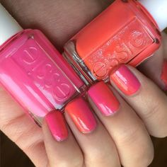 Vertical ombré nail design using essie electric pink 'mod square' and coral 'sunday funday' -- love this mani!