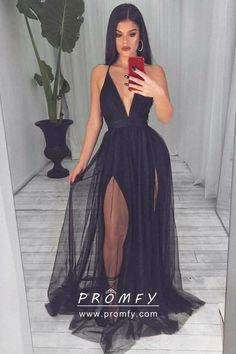 Sheer Black Tulle Overlay Double-slit Plunging Neckline Open Back Prom Dress Sexy sheer black tulle overlay, plunging V neckline, open back with spaghetti straps, double high slits long prom dress. Prom Dress Black, Pretty Prom Dresses, Open Back Prom Dresses, Ball Dresses, Elegant Dresses, Sexy Dresses, Cute Dresses, Fashion Dresses, Dress Prom