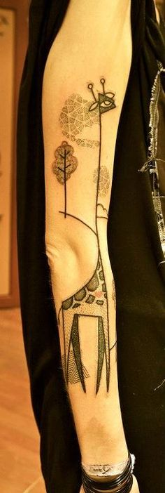 Giraffe tattoo by Noon. I know this is a tattoo but it would be such a great kids' wall mural.