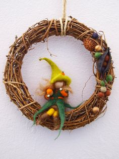 Needle felted Waldorf inspired Mobile woods Elf Home Decoration Grapevine Wreath