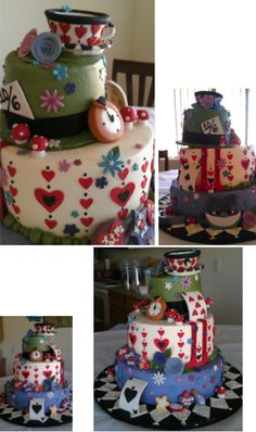 """""""Alice in Wonderland"""" birthday cake. Created by Robert's Catering in Chandler, AZ.    (Pssst, I made this at work)"""