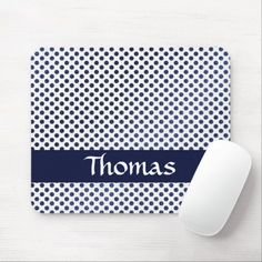 Custom name blue dots patterned mouse pad Blue Dots, Business Supplies, Art Pieces, Kids Shop, Store, Pattern, Color, Colour, Tent
