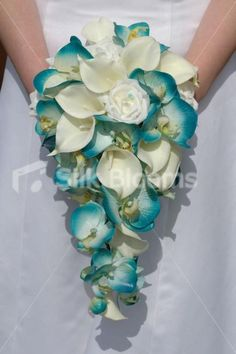 Stunning Artificial Turquoise Orchid & Ivory Calla Lily Cascading Bridal Bouquet