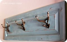 DIY coat hanger  http://blog.cshardware.com/575/reuse-your-old-cabinet-doors/#