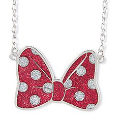 Minnie Mouse Glitter Polka Dot Bow Pendant Necklace at claries $ 10.50