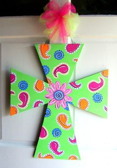 Hand painted Wooden Cross Door Hanger by SassyFrassStudio on Etsy, $35.00