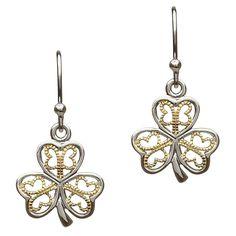Silver Filigree Shamrock Earrings by Shanore
