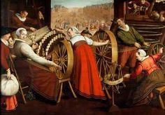 """Spinning and Weaving Wool"".-Painting, c. 1600 or c. 1605, by Isaac Claesz Swanenburgh (c.1538-1614), Stedelijk Museum ""De Lakenhal"", Leiden"