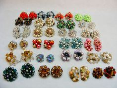 LOT Vintage RETRO 1950's 60s CLUSTER Clip-on EARRINGS Hong Kong JAPAN AB Crystal