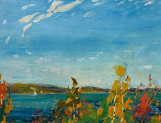 """""""View of Bedford Basin,"""" Arthur Lismer, oil on board, 9 x private collection. Tom Thomson, Group Of Seven, Canadian Art, Fine Art Auctions, Minimalist Art, Basin, Landscape, Oil, Painting"""