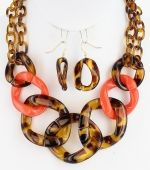 Bijoux Boutique | Tortoise Acrylic Link Necklace Set | Online Store Powered by Storenvy