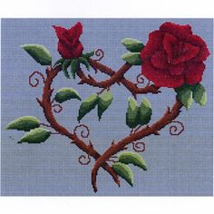 Flowered Heart Cross Stitch Pattern - Ah, sweet romance, where beauty blooms despite the thorns! A pair of blood red roses have twined themselves into an enchanting heart to deliver a message of love and affection. This pattern measures 174 stitches wide by 145 stitches wide. This is a pattern for counted cross stitch. It is not a complete kit. You must provide your own fabric and floss. #HeartsRomance #Cross-stitchPatterns #GryphonsMoon