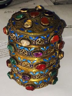 Spectacular Chinese Gilt Silver Jeweled Tea Caddy Box