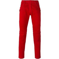 Balmain Red Stretch Cotton Biker Pants ($1,000) ❤ liked on Polyvore featuring men's fashion, men's clothing and red
