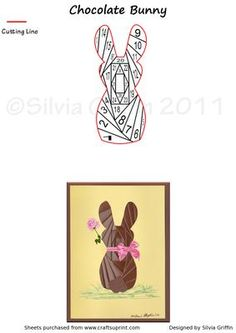 Chocolate Bunny  on Craftsuprint designed by Silvia Griffin - Sweet bunny for Easter or any other time of the year. Mothers Day, Anniversary, birthday and more.  - Now available for download!