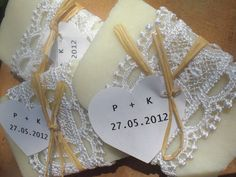 30 Wedding Favors/ all natural Soaps Wrapped in Lace / by sofiart, $48.00