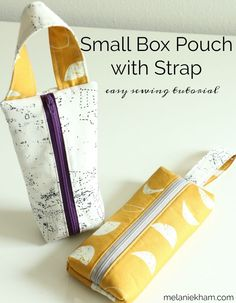 Learn how to make this easy small zipper pouch tutorial featuring a handle. These box bags are great for storage or gifts! Great easy sewing projects and a free sewing patter too! Beginner Sewing Patterns, Sewing Projects For Beginners, Sewing Patterns Bags, Small Sewing Projects, Skirt Patterns, Pattern Sewing, Pattern Drafting, Blouse Patterns, Diy Projects