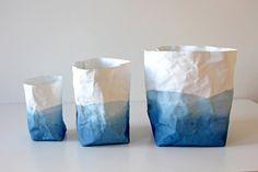 Ombre - sac en papier lavable bleu Indigo et blanc, panier, bin, stockage, Indigo naturel, stocker vos métiers, planteur, panier, Trésor...