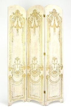 White and gold room divider