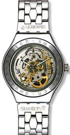 Swatch Men's Irony YAS100G Silver Stainless-Steel Automatic Watch #swatch #watch #tarazz