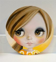 Blythe Doll Oil Painting on Coaster lowbrow big eyed by EmmaMount
