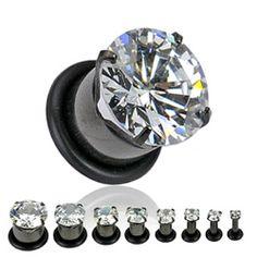PAIR (2) Black Titanium Large Clear CZ Gem EAR PLUGS Piercing Gauges Earrings