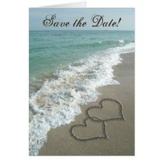Cruise Ship Save the Date Sand Hearts on Beach, Save the Date Cards