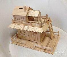 雪糕棒DIY两层楼房屋模型 雪糕棍房子制作教程 -  www.shouyihuo.com